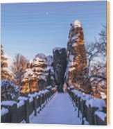 Moon Over Snowy Bastei Bridge Wood Print