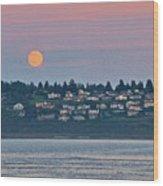Moon Over Steilacoom Wood Print