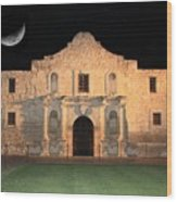 Moon Over The Alamo Wood Print by Carol Groenen