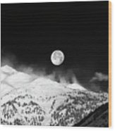Moon Over The Alps Wood Print