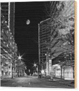 Moon Over The Bottom Wood Print