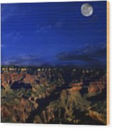 Moon Over The Canyon Wood Print