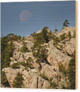Moon Over The Hills Wood Print