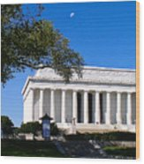 Moon Over The Lincoln Memorial  Wood Print