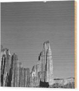 612751-moon Over The Titan  Wood Print