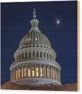 Moon Over The Washington Capitol Building Wood Print