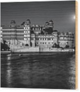 Moon Over Udaipur Bw Wood Print