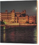 Moon Over Udaipur Wood Print