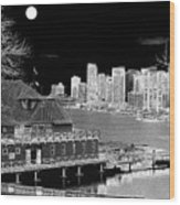 Moon Over Vancouver Wood Print