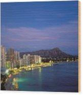 Moon Over Waikiki Wood Print