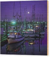 Moon Over Winchester Bay Wood Print