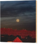 Moon Over Yuma Wood Print
