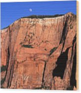 Moon Over Zion Wood Print
