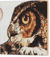 Moon Owl Wood Print