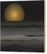 Moon Rise Abstract - Black And Gold Wood Print