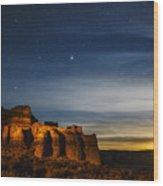 Moon Rise At Pillars Of Rome, Oregon, Usa Wood Print