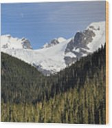 Moon Rise Over Matier Glacier At Joffre Lakes Wood Print