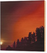 Moon Rising With A Wild Fire Wood Print