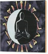 Moon Salutations Wood Print by Carolyn Doe