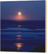 Moon Set Wood Print