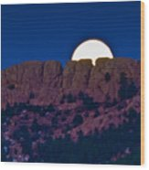 Moon Setting Behind Horsetooth Rock Wood Print by Harry Strharsky