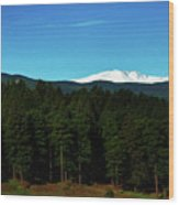 Moon Setting Into The Rocky Mountains Wood Print
