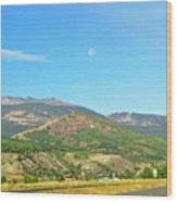 Moon Shine On Anaconda Montana  Wood Print