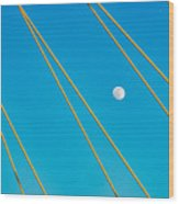 Moon Through The Wires Wood Print
