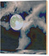 Moon Walk By The Clouds Wood Print