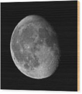 Moon Waning Gibbous Against Black Night Sky High Resolution Image Wood Print
