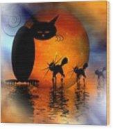 Mooncat's Catwalk Wood Print by Issabild -