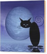 Mooncat's Loneliness Wood Print by Issabild -