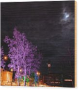 Moonlight And Colored Trees Wood Print