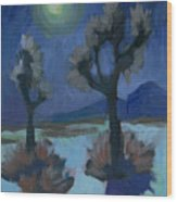 Moonlight And Joshua Tree Wood Print