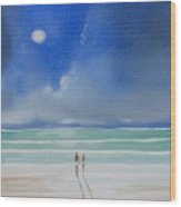 Moonlight At The Beach II Wood Print