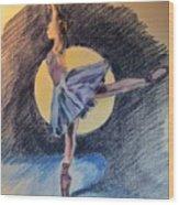 Moonlight Ballerina Wood Print