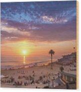 Moonlight Beach Sunset Wood Print