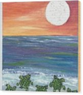 Moonlight Birthday Swim. Wood Print