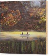 Moonlight Canoeing Wood Print