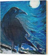 Moonlight Crow Wood Print