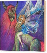 Moonlight Fairy And Her Horned Horse Wood Print