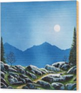 Moonlight Hike Wood Print