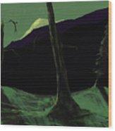 Moonlight In The Rockies Wood Print