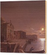 Moonlight In Venice Henry Pether Wood Print