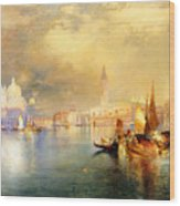 Moonlight In Venice Wood Print