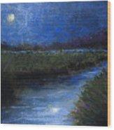 Moonlight Marsh Wood Print