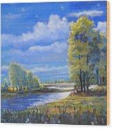 Moonlight On Clear Creek Wood Print
