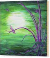 Moonlight On Green Water Wood Print