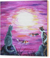 Moonlight On Pink Water Wood Print