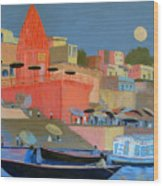 Moonlight On The Ghats Wood Print